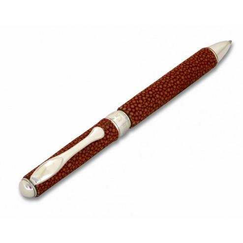 Penna Sfera in Pelle Corallo