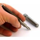 Penna Stilografica Legno Fossile e Argento
